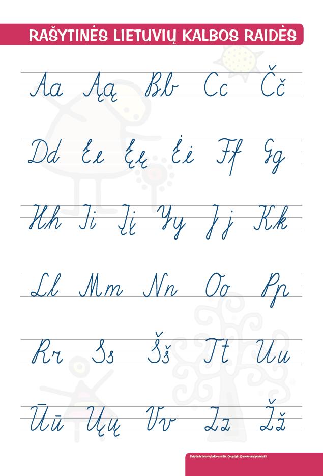rašytinės lietuvių kalbos raidės